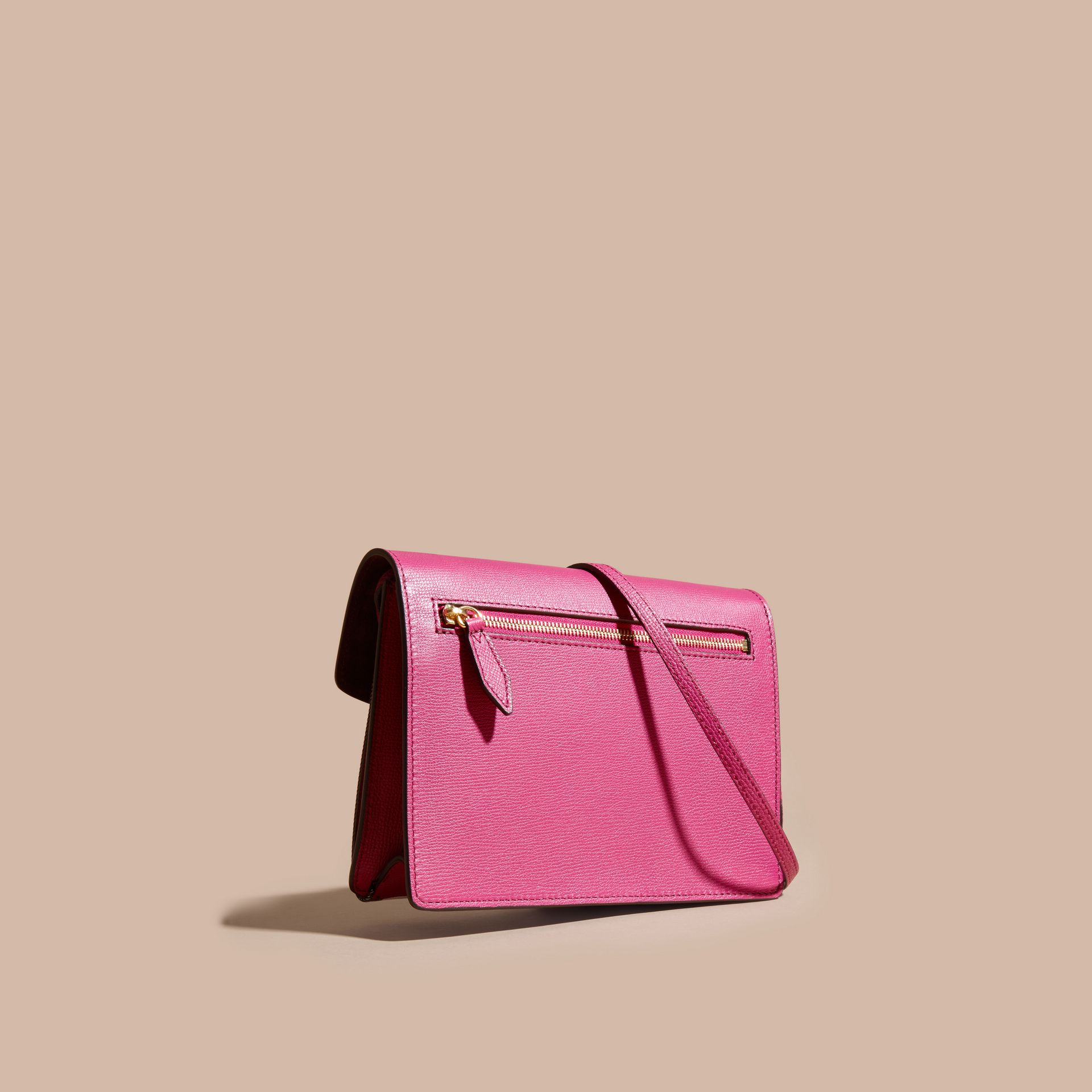 Brilliant fuchsia Small Leather and House Check Crossbody Bag - gallery image 5