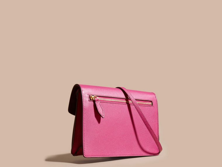 Brilliant fuchsia Small Leather and House Check Crossbody Bag - cell image 4