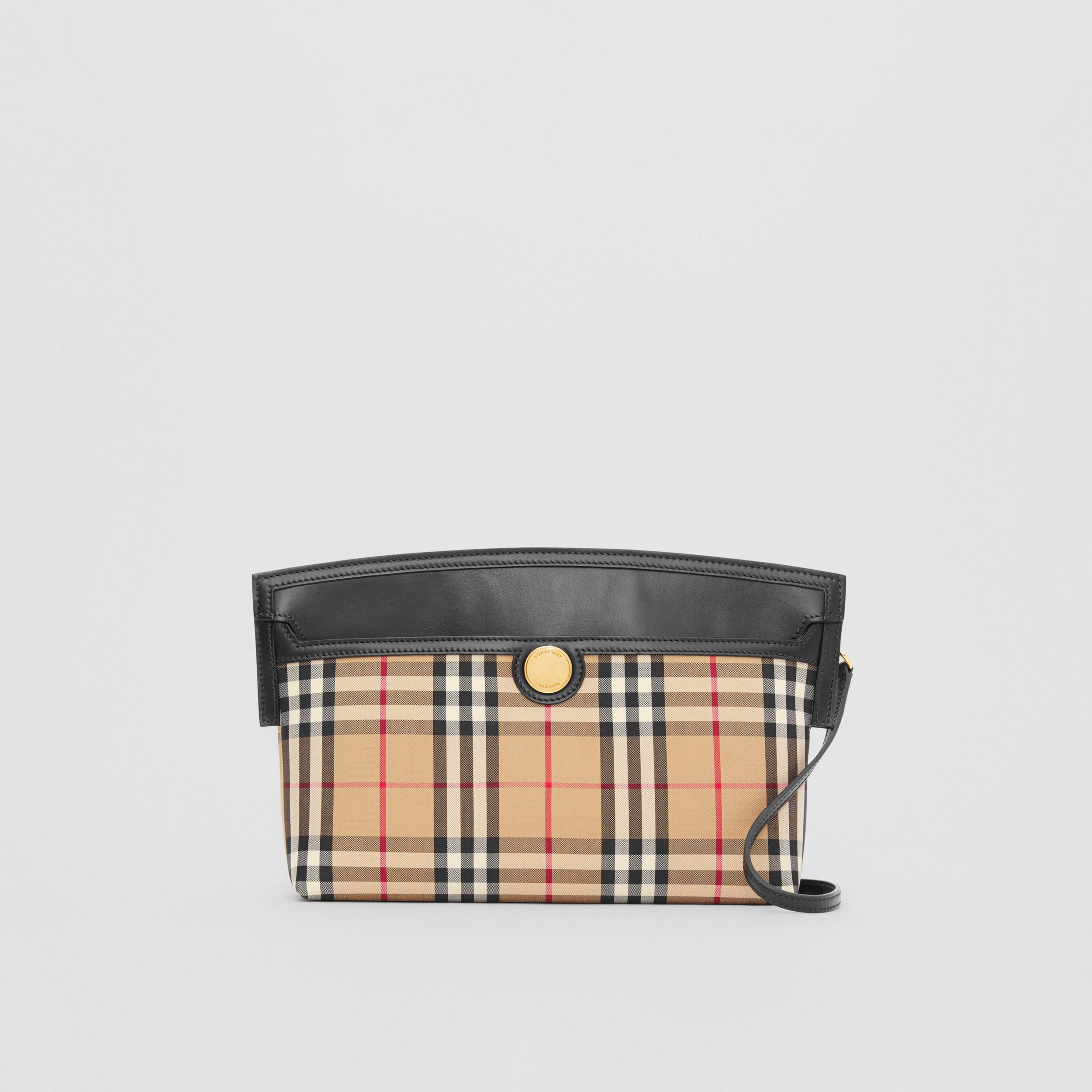 Vintage Check and Leather Society Clutch in Archive Beige - Women | Burberry Australia - 1