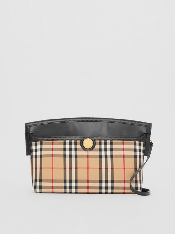 Vintage Check and Leather Society Clutch in Archive Beige