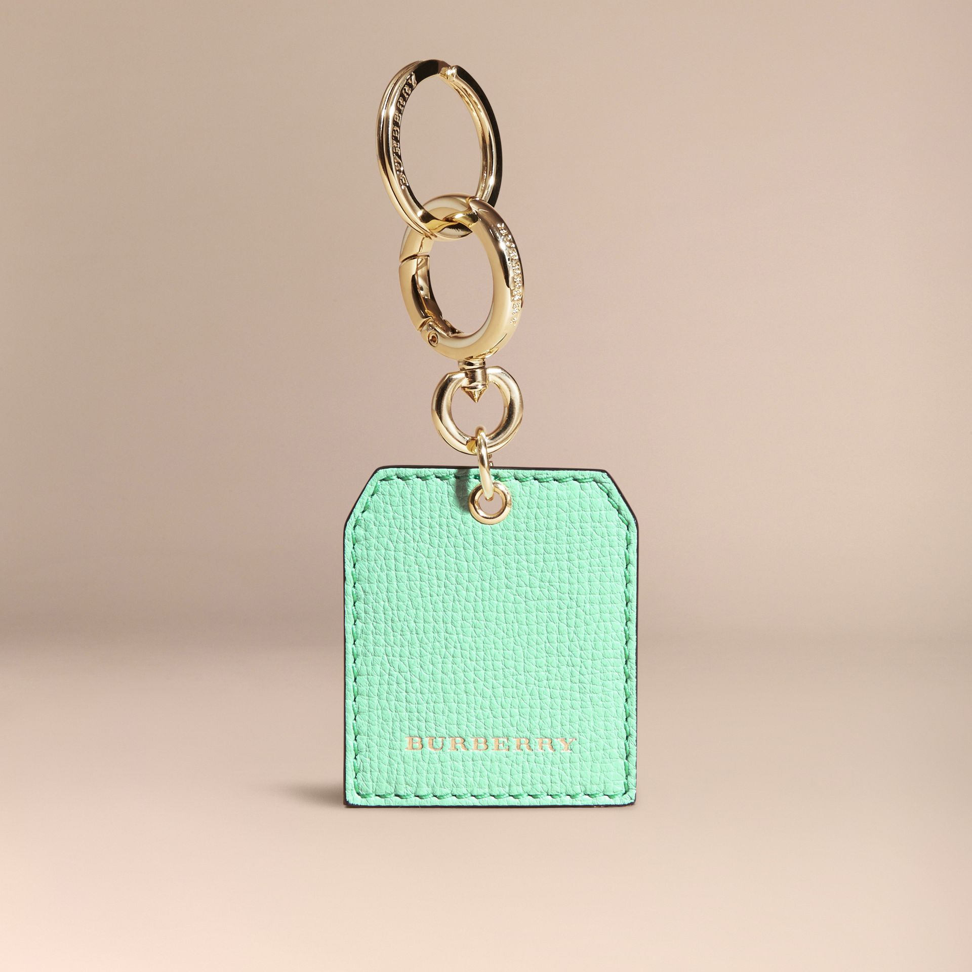 Grainy Leather Key Charm in Light Mint | Burberry - gallery image 5