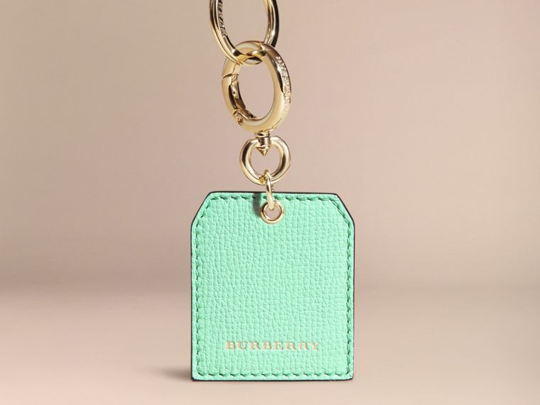 Grainy Leather Key Charm in Light Mint - Women | Burberry - cell image 4