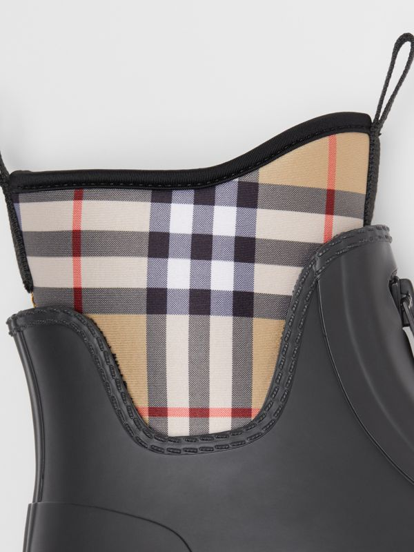 Vintage Check Neoprene and Rubber Rain Boots in Black - Women | Burberry Australia - cell image 3