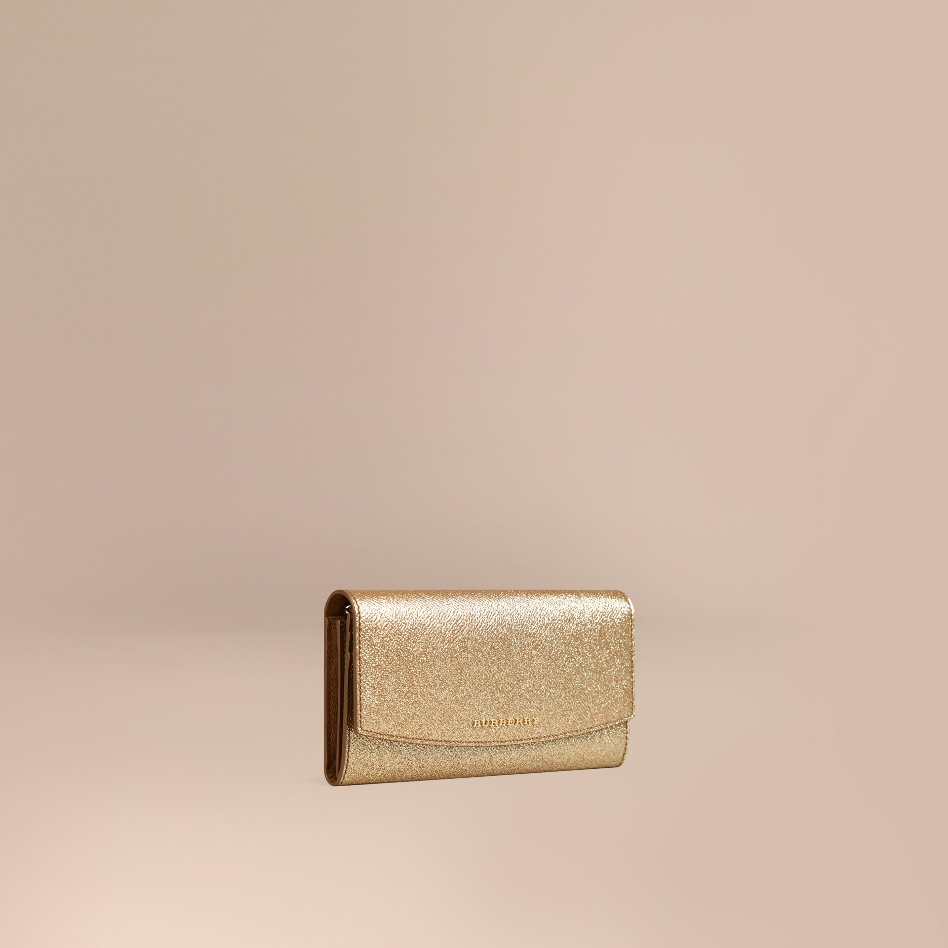 Glitter Patent London Leather Continental Wallet in Camel / Gold - gallery image 1