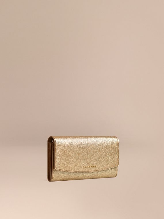 Glitter Patent London Leather Continental Wallet Camel / Gold