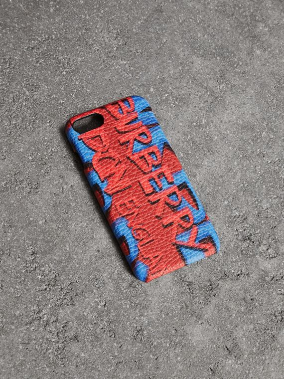 Graffiti Print Leather iPhone 8 Case in Black