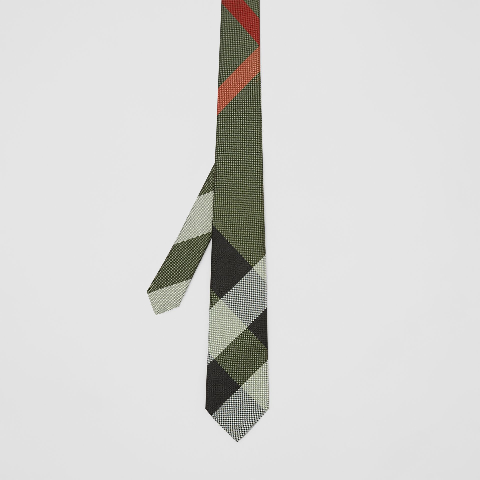 Modern Cut Oversized Check Silk Tie in Utility Green - Men | Burberry - gallery image 4