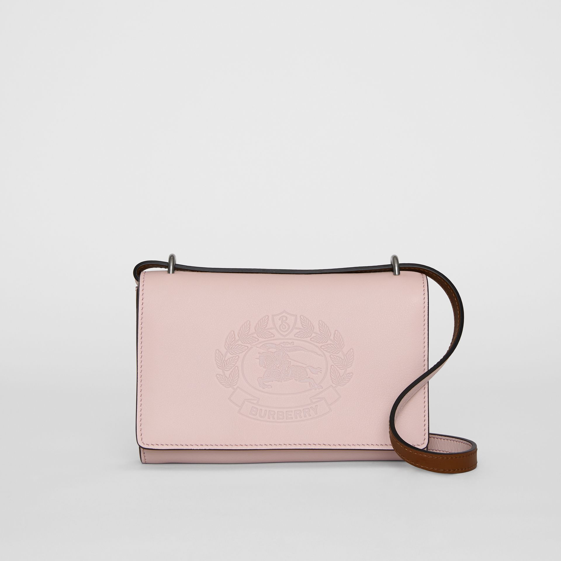 Embossed Crest Leather Wallet with Detachable Strap in Chalk Pink - Women | Burberry United Kingdom - gallery image 0