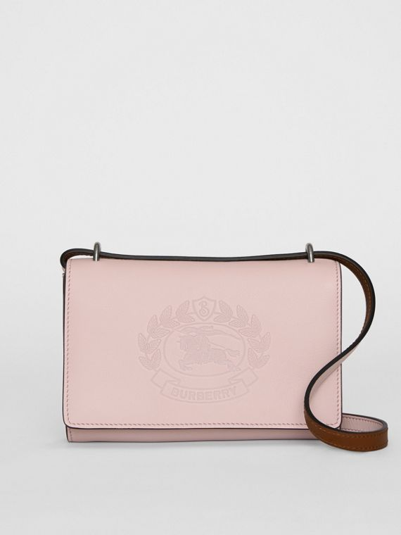 Embossed Crest Leather Wallet with Detachable Strap in Chalk Pink