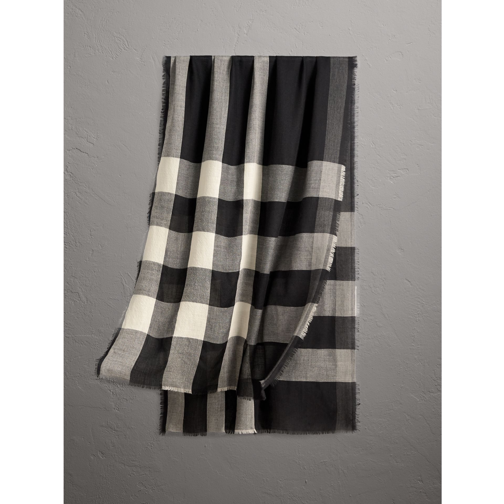Lightweight Check Cashmere Scarf in Black | Burberry - gallery image 1