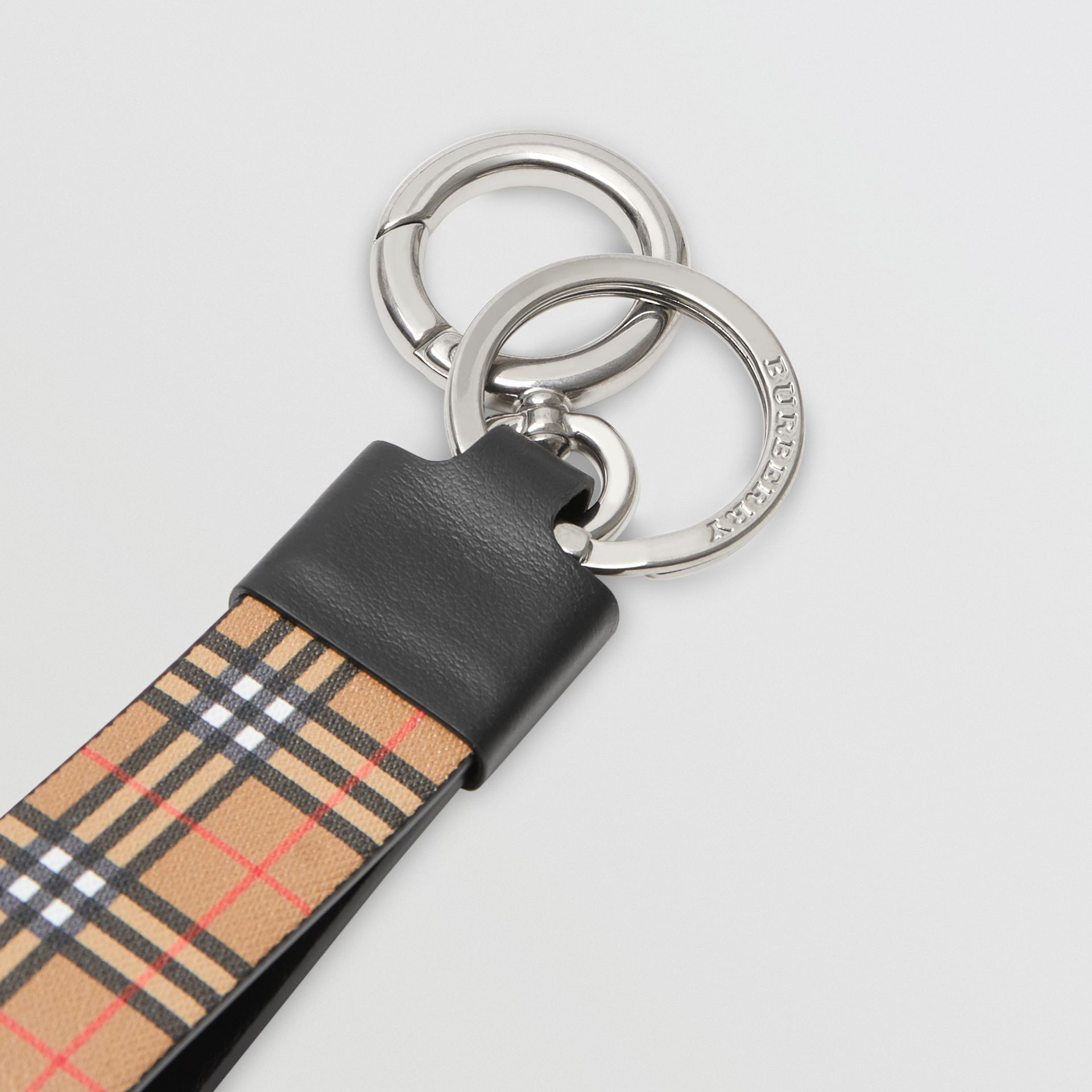 Small Scale Check and Leather Key Ring in Antique Yellow - Men | Burberry Australia - gallery image 1