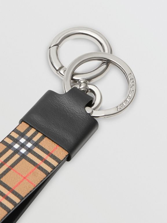 Small Scale Check and Leather Key Ring in Antique Yellow - Men | Burberry - cell image 1