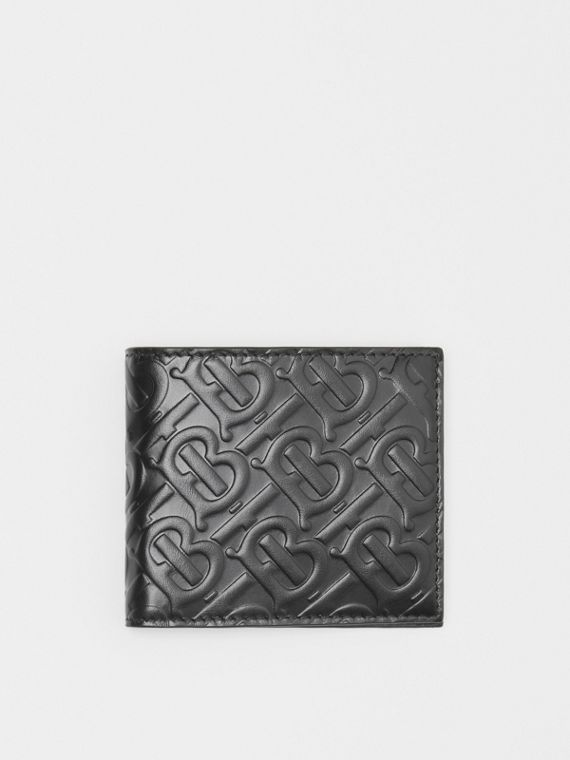 Monogram Leather International Bifold Coin Wallet in Black