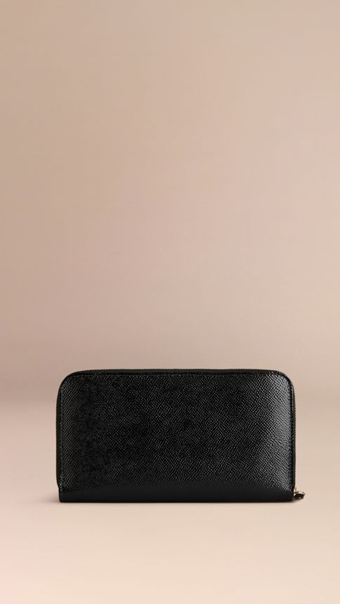 Black Patent London Leather Ziparound Wallet Black - Image 3