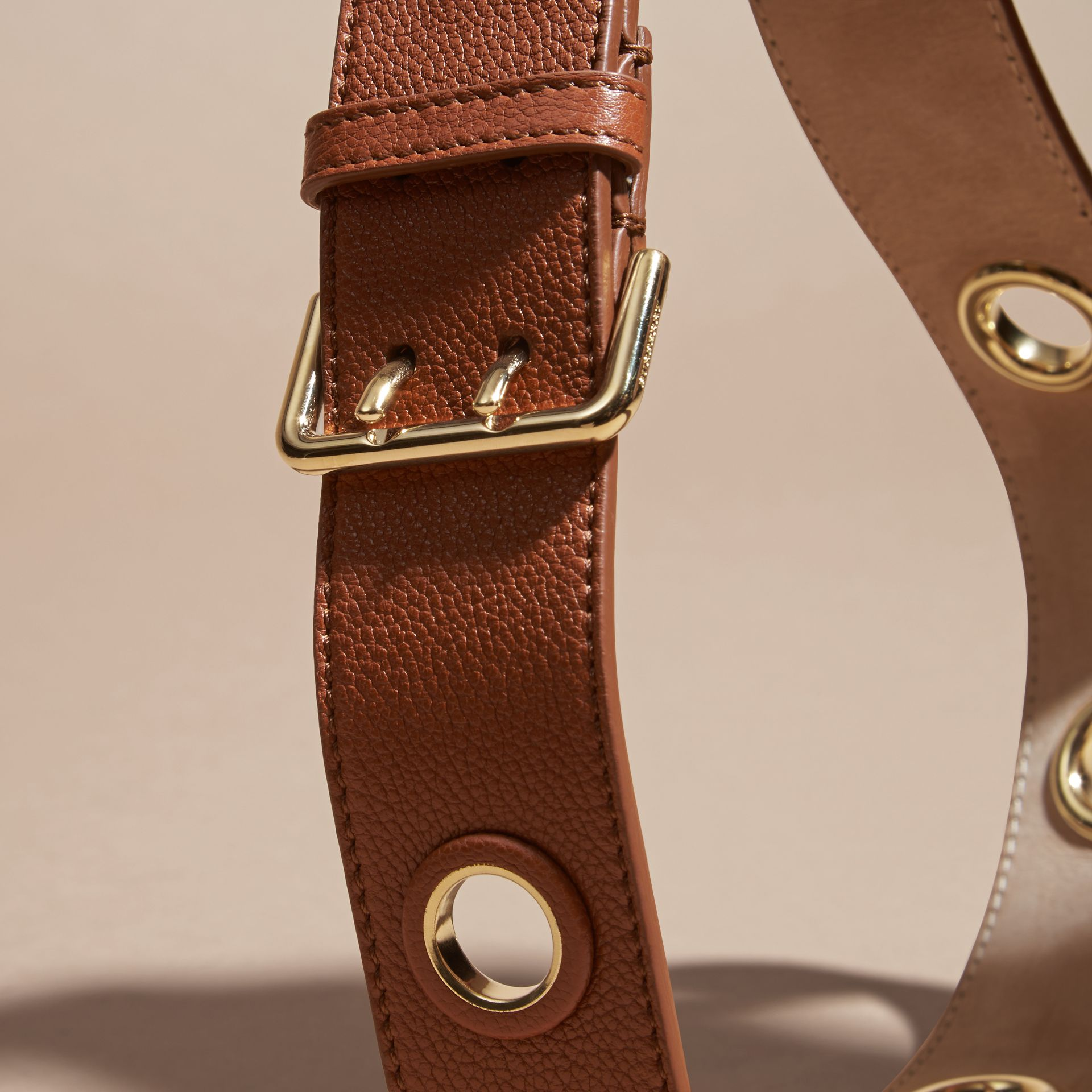 Eyelet Detail Grainy Leather Belt Bright Toffee - gallery image 2