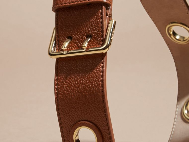 Eyelet Detail Grainy Leather Belt Bright Toffee - cell image 1