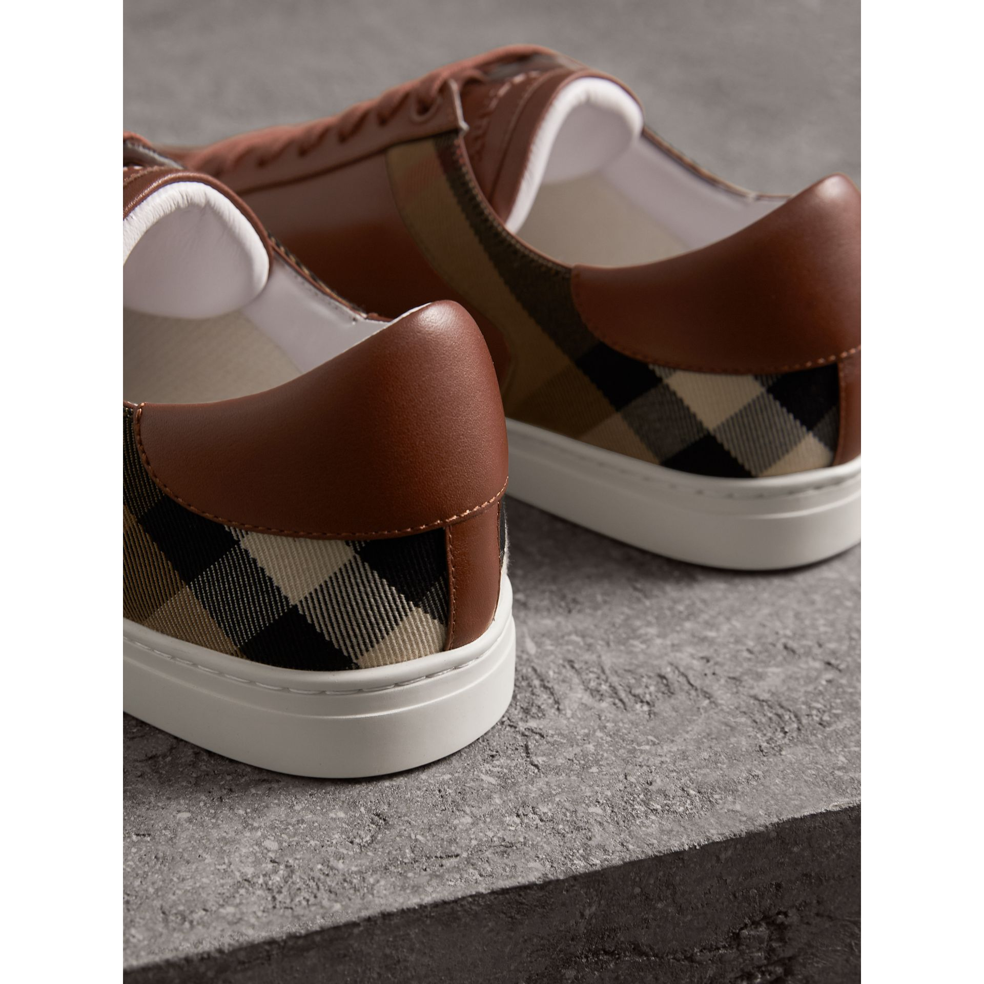 Leather and House Check Trainers in Check/bright Camel - Men | Burberry - gallery image 3