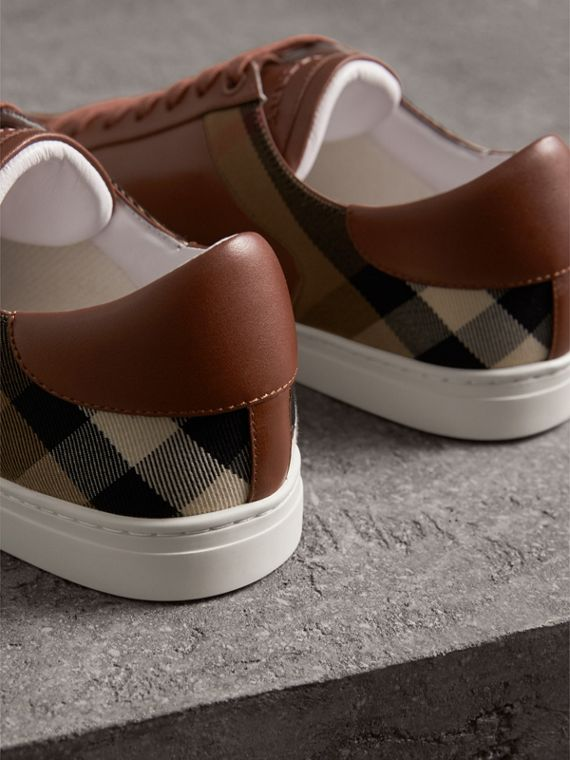 Leather and House Check Trainers in Check/bright Camel - Men | Burberry - cell image 2