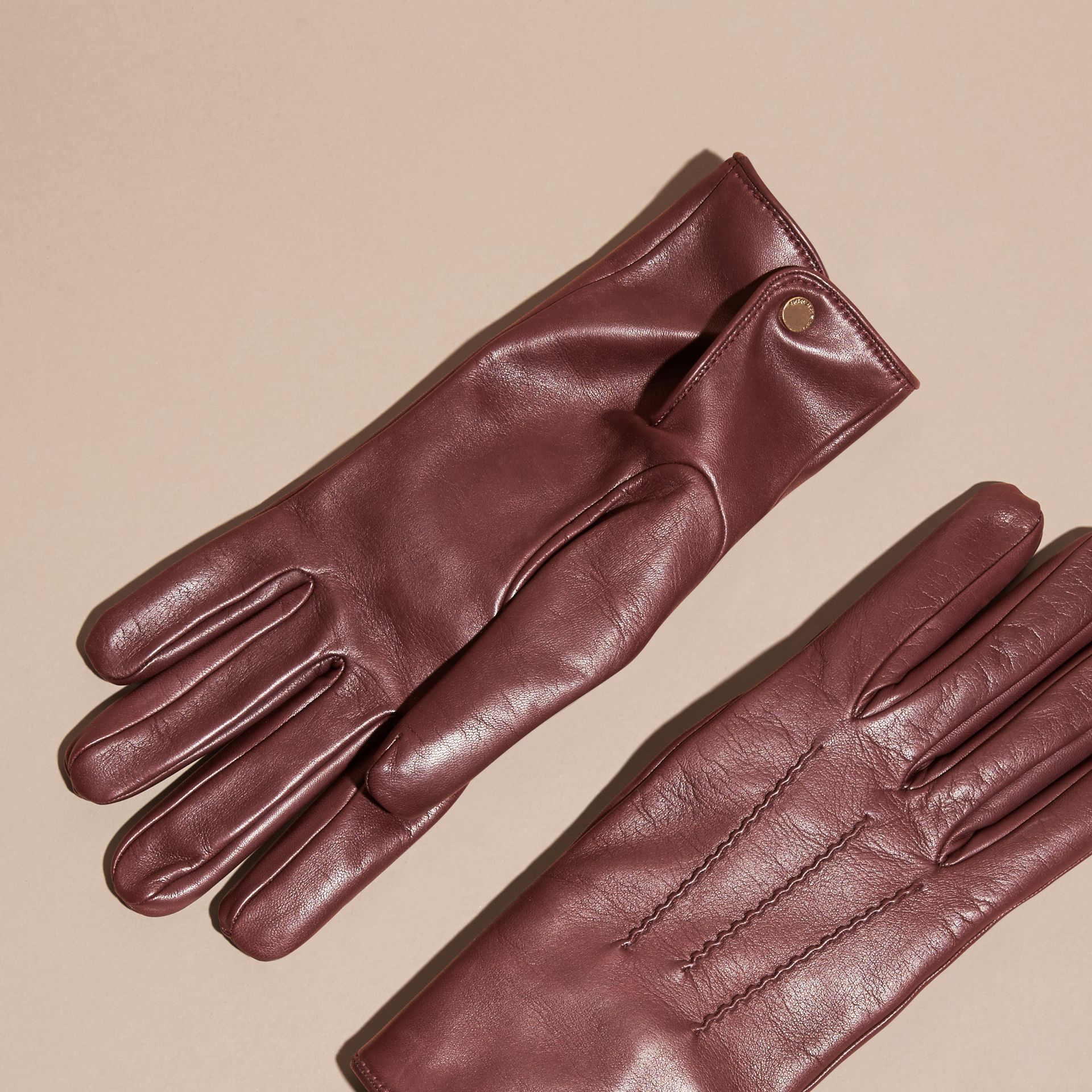 Cashmere Lined Lambskin Gloves in Dark Claret - Men | Burberry - gallery image 3
