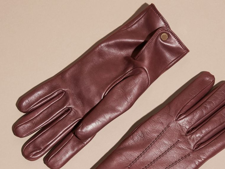 Cashmere Lined Lambskin Gloves in Dark Claret - Men | Burberry Canada - cell image 2