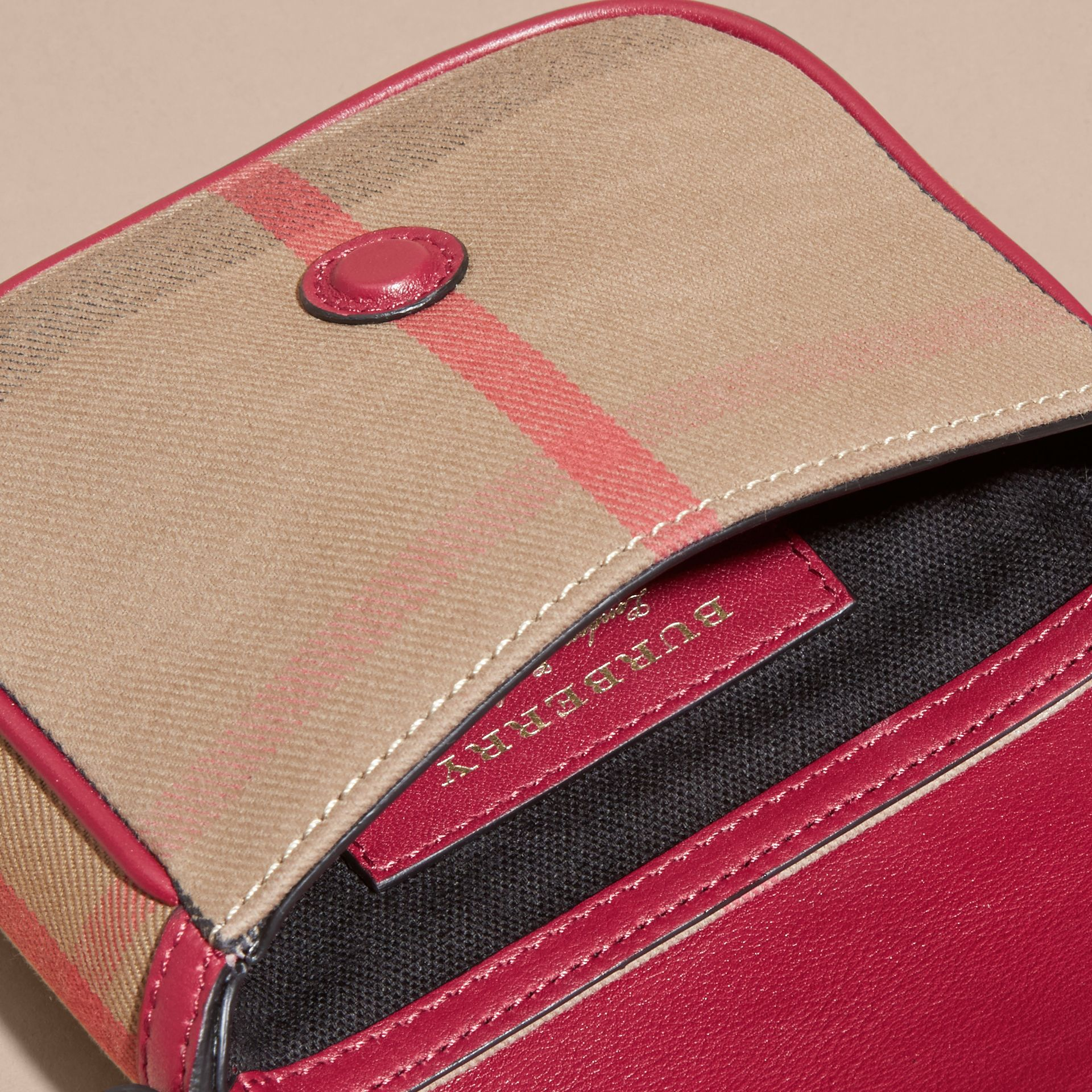 Weather Motif Leather and House Check Crossbody Bag - gallery image 5
