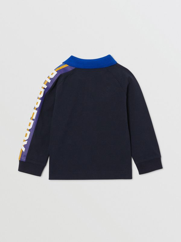 Long-sleeve Logo Print Cotton Polo Shirt in Navy - Children | Burberry - cell image 3
