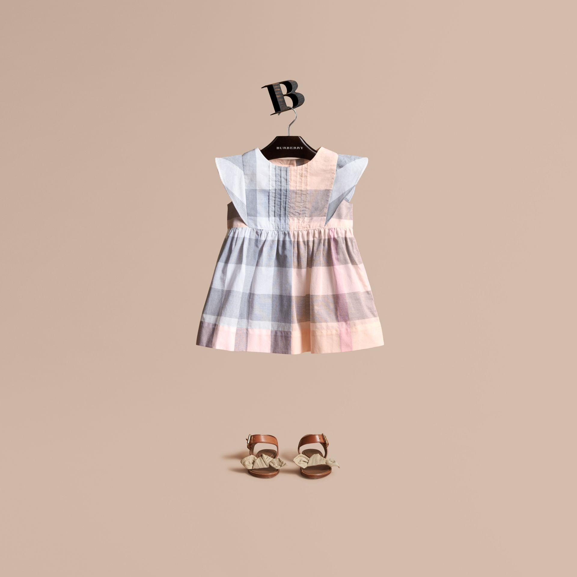 Ruffle Detail Check Cotton Dress in Apricot | Burberry - gallery image 1
