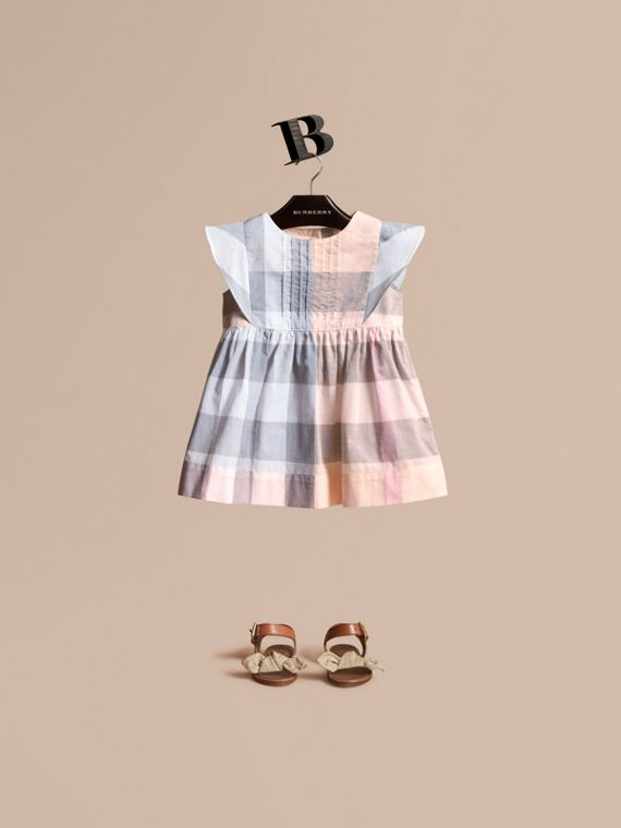 Ruffle Detail Check Cotton Dress in Apricot | Burberry Australia