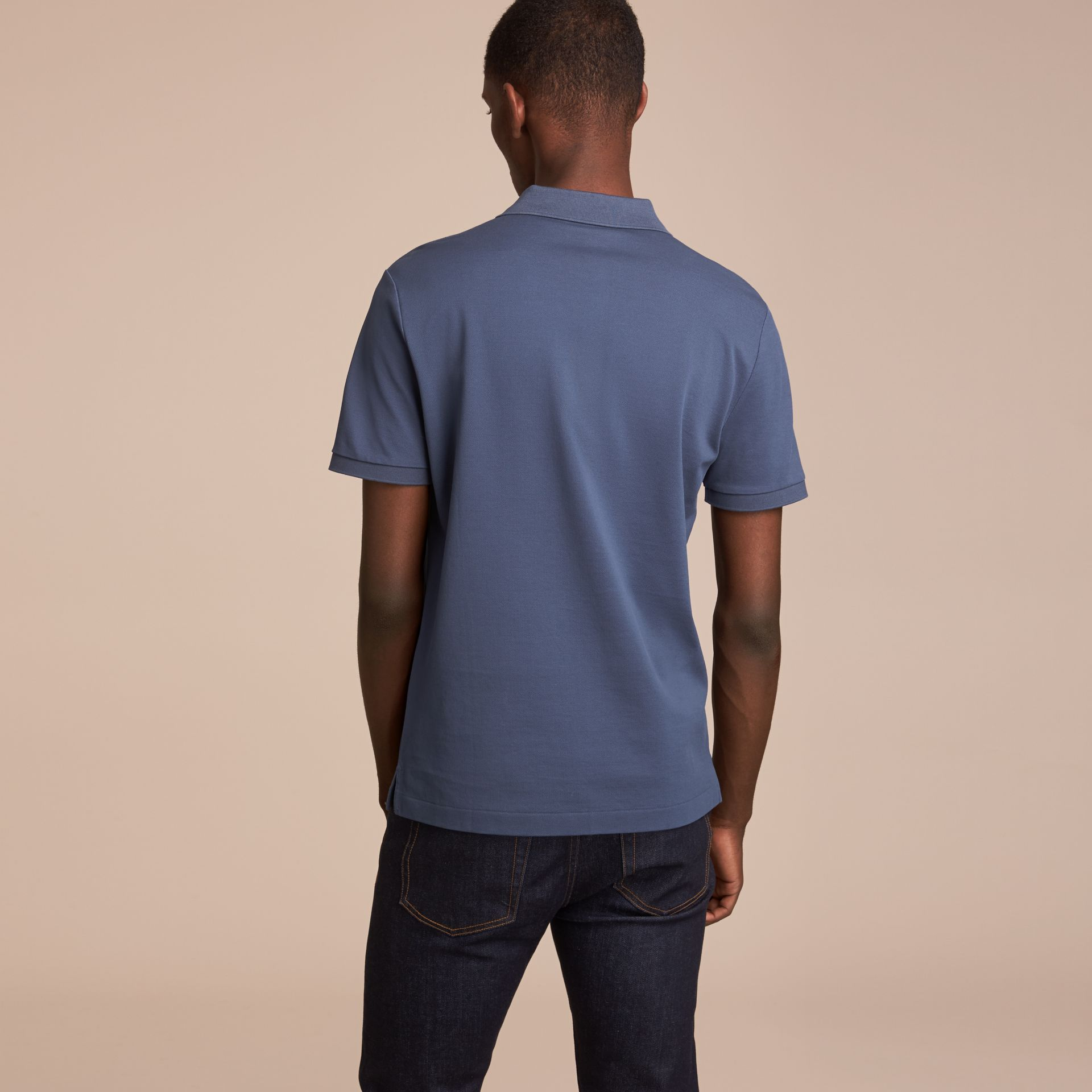 Cotton Piqué Polo Shirt Steel Blue - gallery image 3