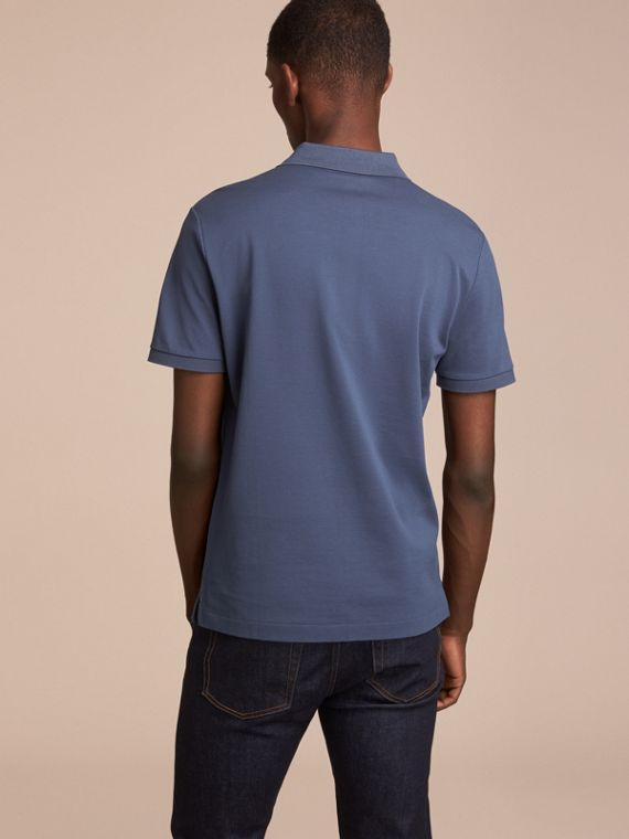 Cotton Piqué Polo Shirt in Steel Blue - cell image 2