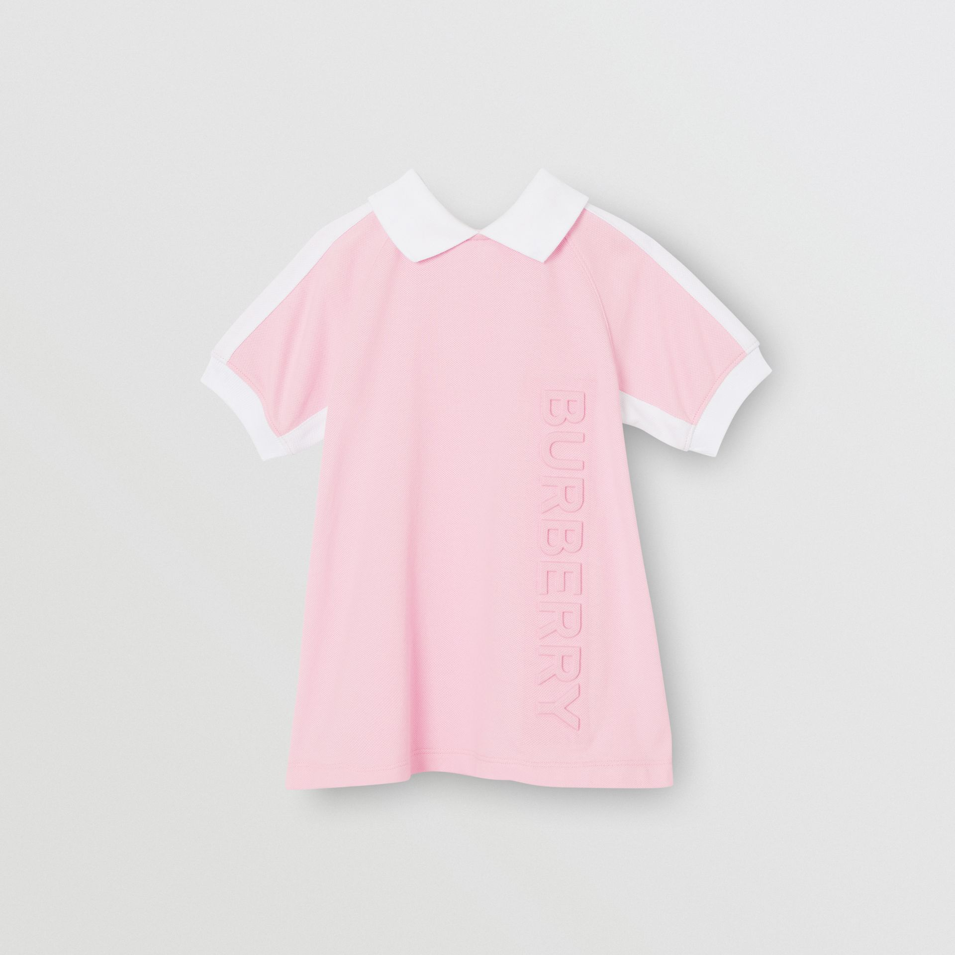 Embossed Logo Cotton Polo Dress in Pale Neon Pink - Children | Burberry - gallery image 0