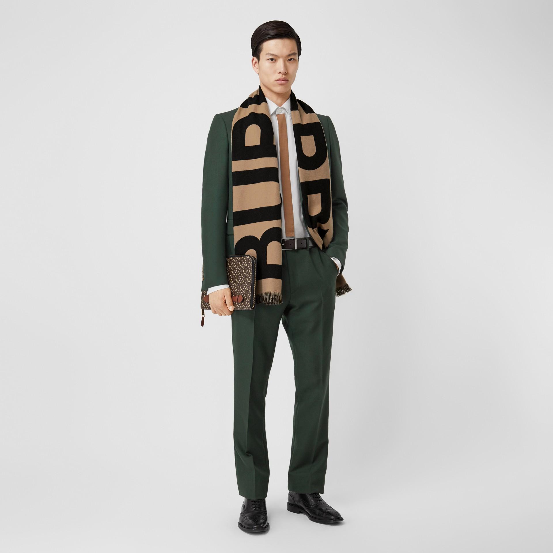 Bufanda en lana con logotipo en jacquard (Beige Vintage) | Burberry - imagen de la galería 7
