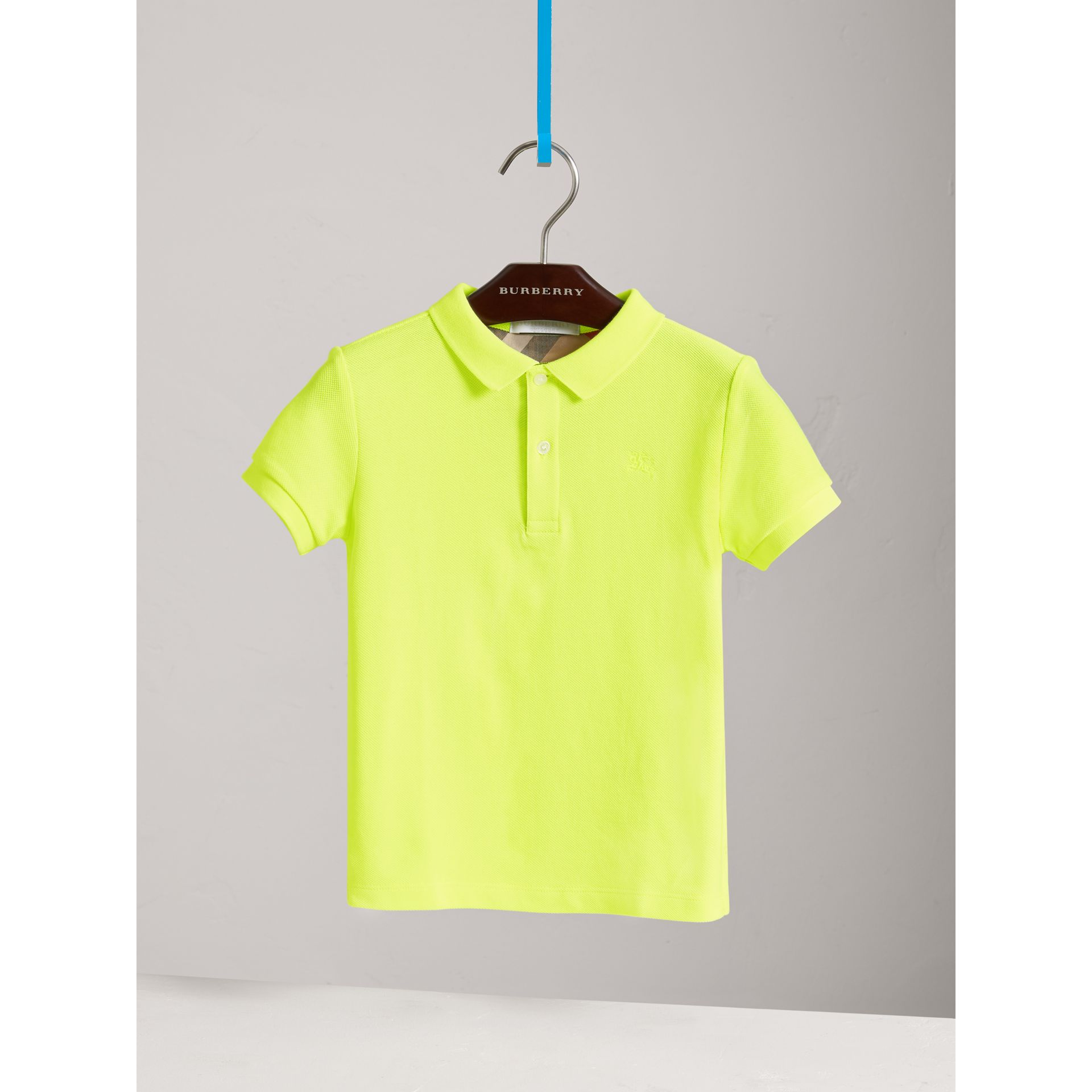 Check Placket Polo Shirt in Neon Yellow | Burberry - gallery image 0