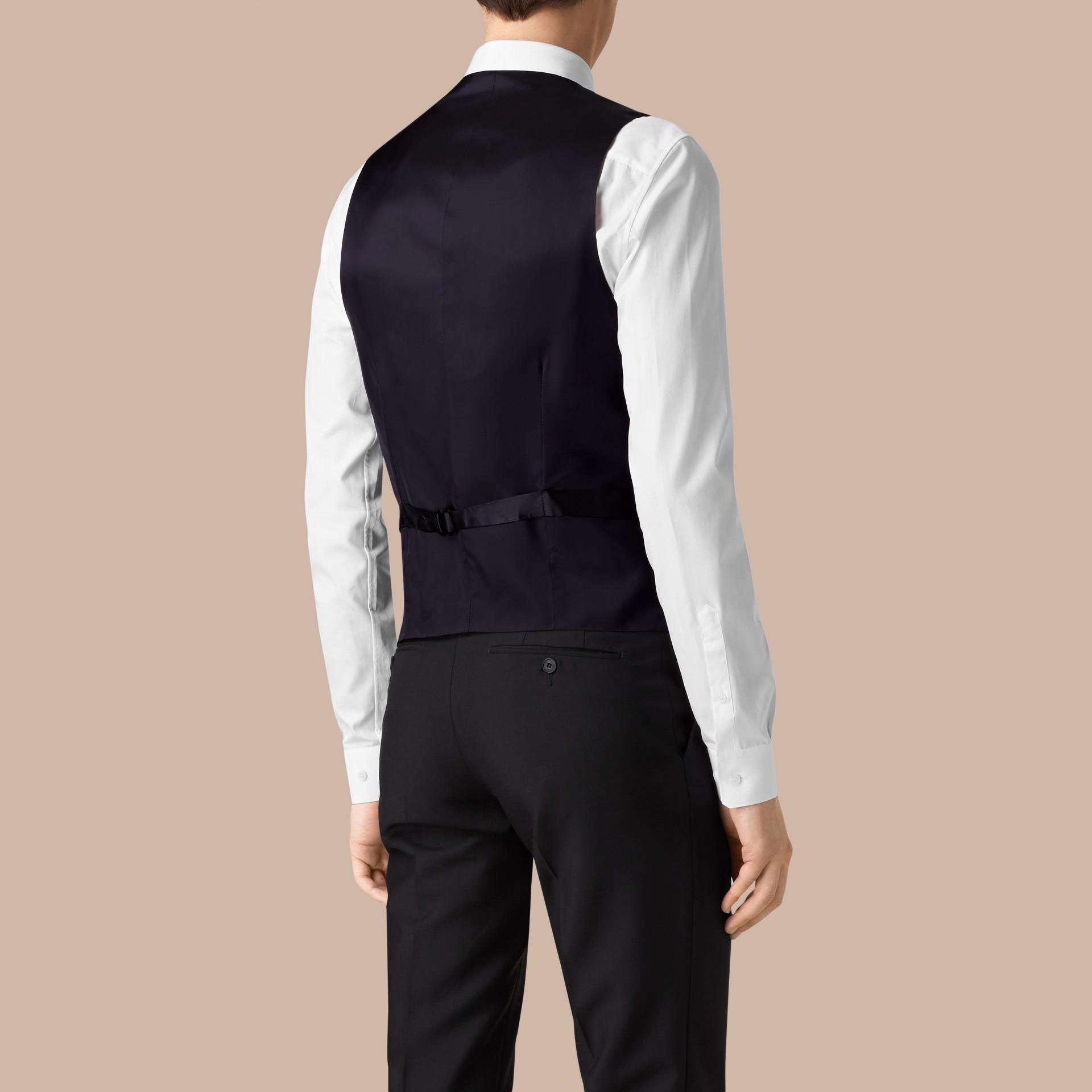 Marineblau Körperbetonter Waistcoat aus Wolle - Galerie-Bild 3