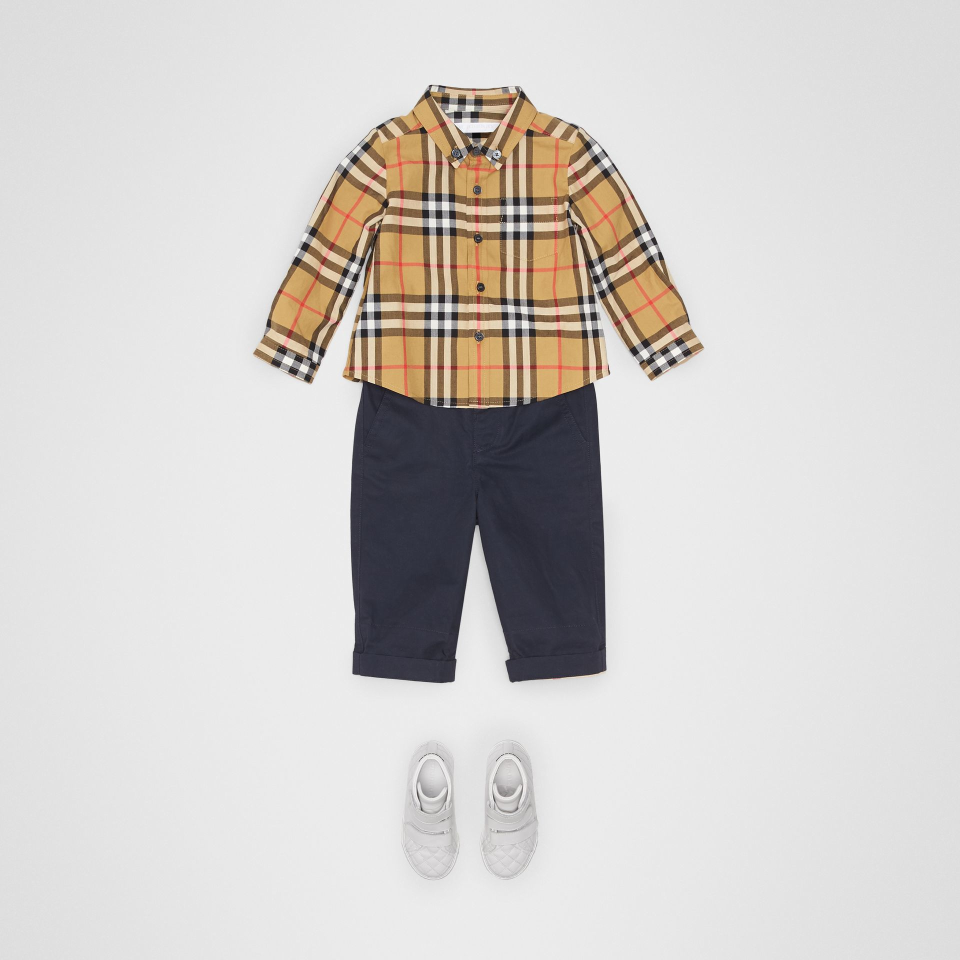 Button-down Collar Vintage Check Cotton Shirt in Antique Yellow - Children | Burberry Singapore - gallery image 2