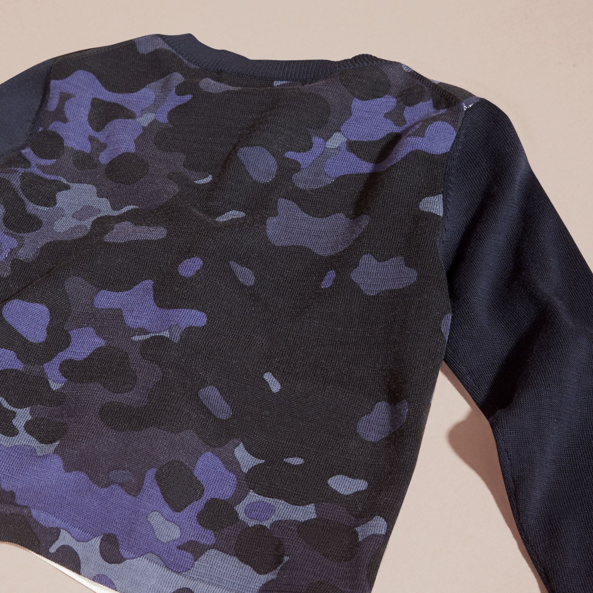 Navy Camouflage Print Cotton Crew Neck Sweater - gallery image 4