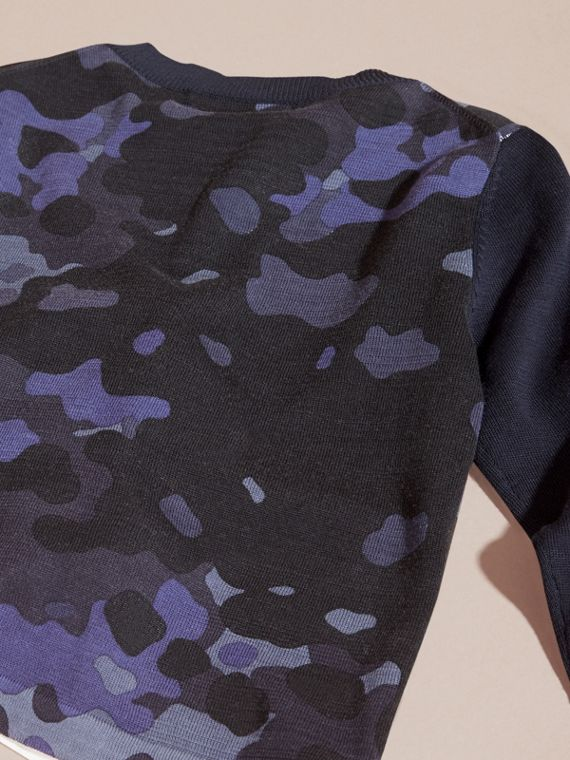 Navy Camouflage Print Cotton Crew Neck Sweater - cell image 3