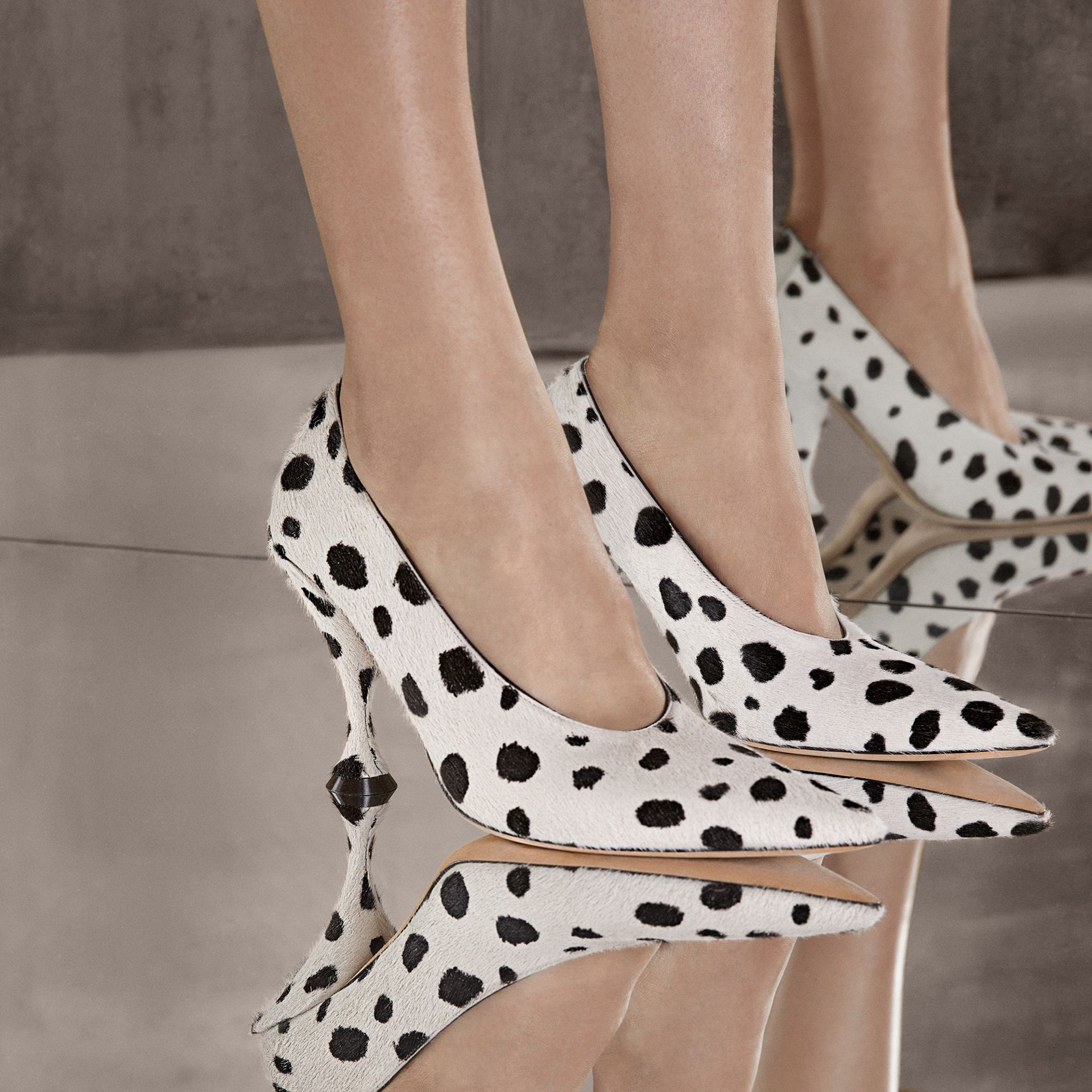 Dalmatian Print Calf Hair Pumps in Optic White/black - Women | Burberry Hong Kong S.A.R - gallery image 1