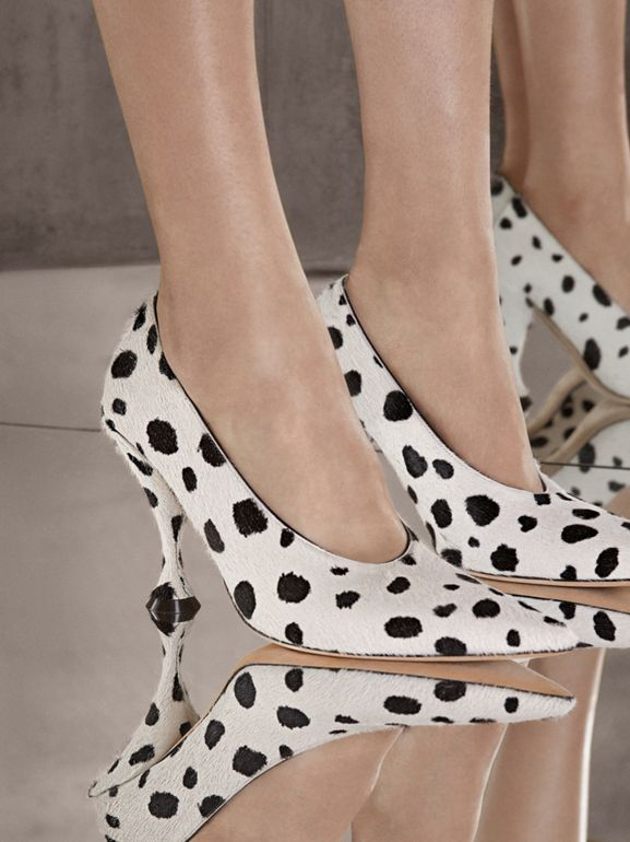 Dalmatian Print Calf Hair Pumps in Optic White/black - Women | Burberry Hong Kong S.A.R - cell image 1