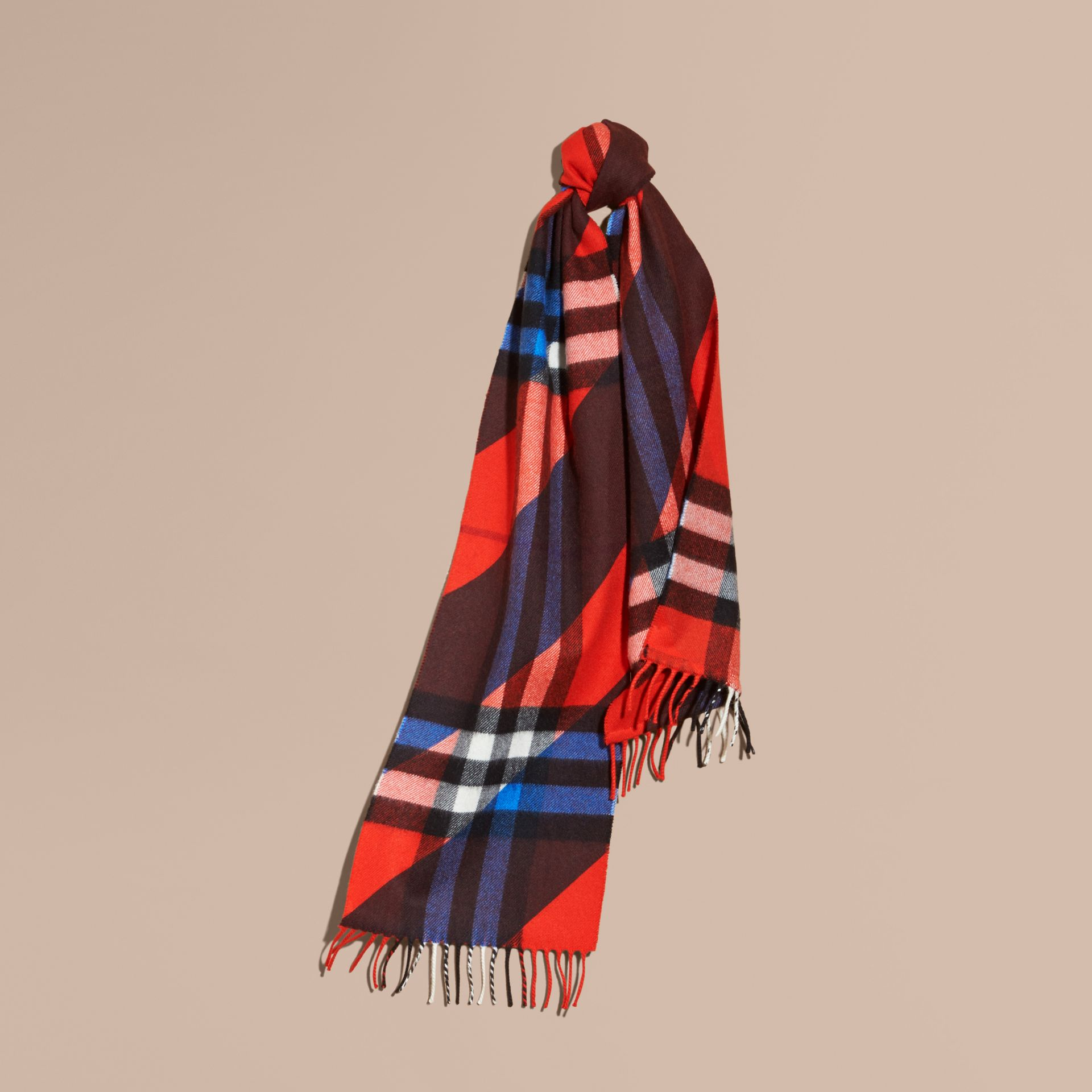 Check Cashmere Scarf with Stripe Print - gallery image 1