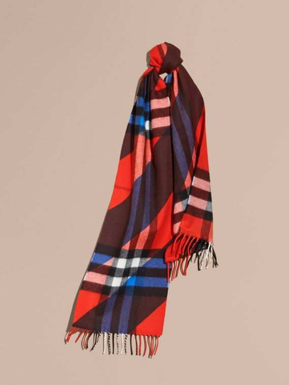 Check Cashmere Scarf with Stripe Print