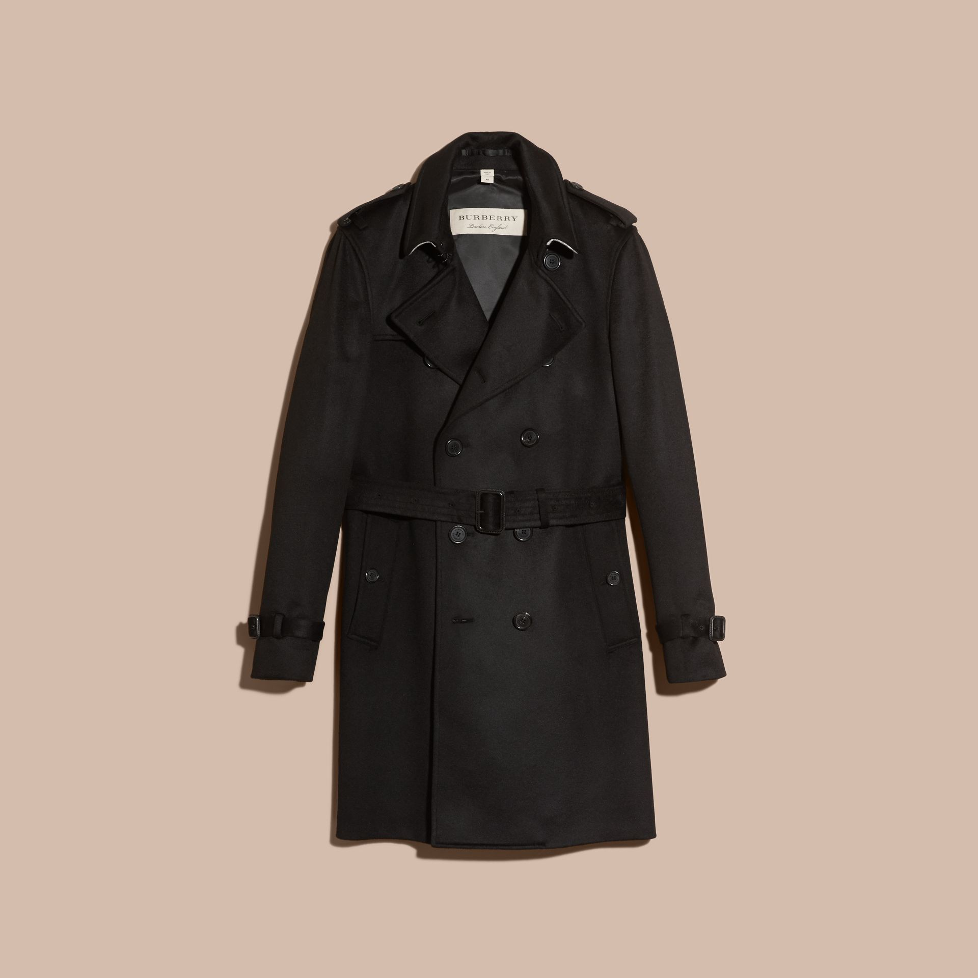 Black Cashmere Trench Coat Black - gallery image 4