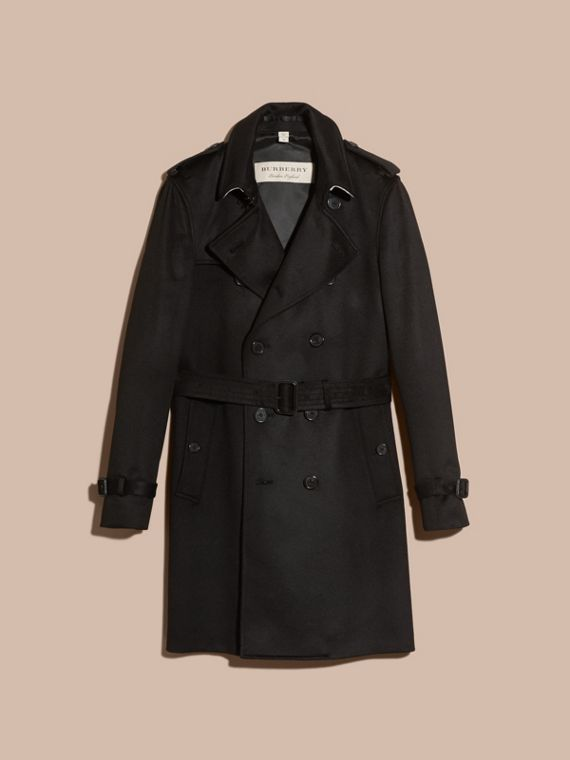 Trench coat in cashmere Nero - cell image 3