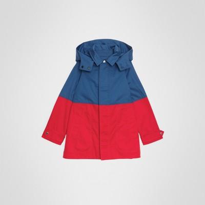 Paletot À Burberry Cendré Amovible Capuche Color Coton bleu Block En rqSr47