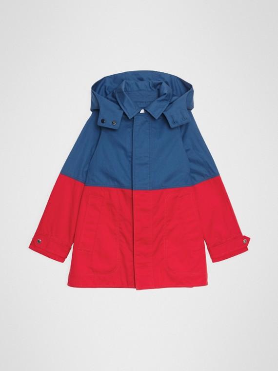 Kurzmantel aus Baumwolle im Colour-Blocking-Design mit abnehmbarer Kapuze (Rauchblau)