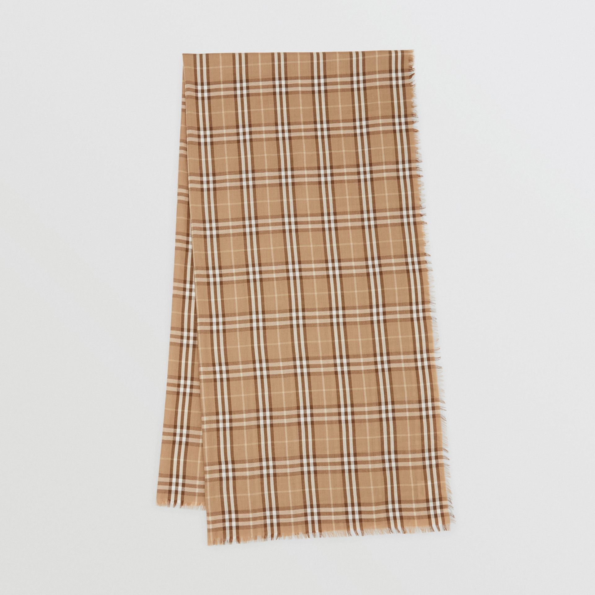 Vintage Check Lightweight Cashmere Scarf in Mid Camel | Burberry United Kingdom - gallery image 0