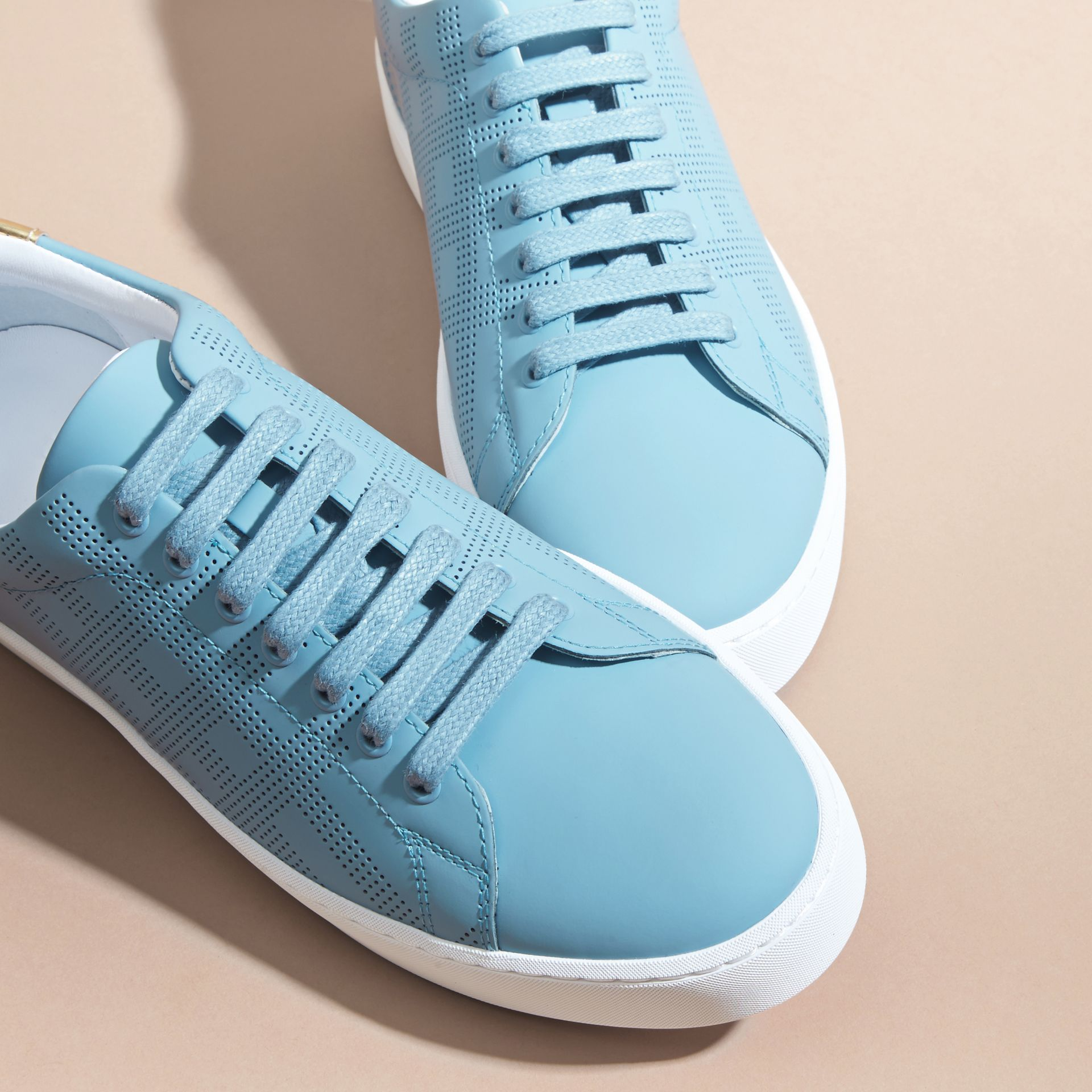 Perforated Check Leather Trainers Powder Blue - gallery image 3