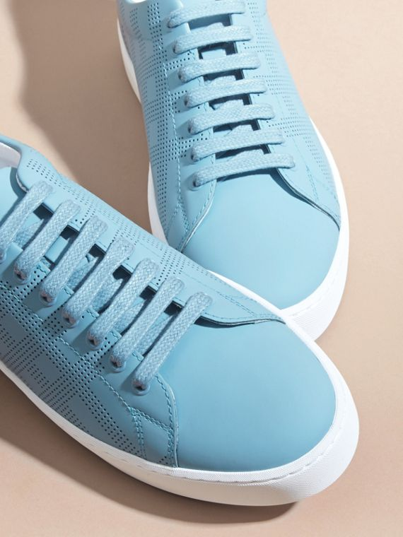 Perforated Check Leather Trainers Powder Blue - cell image 2