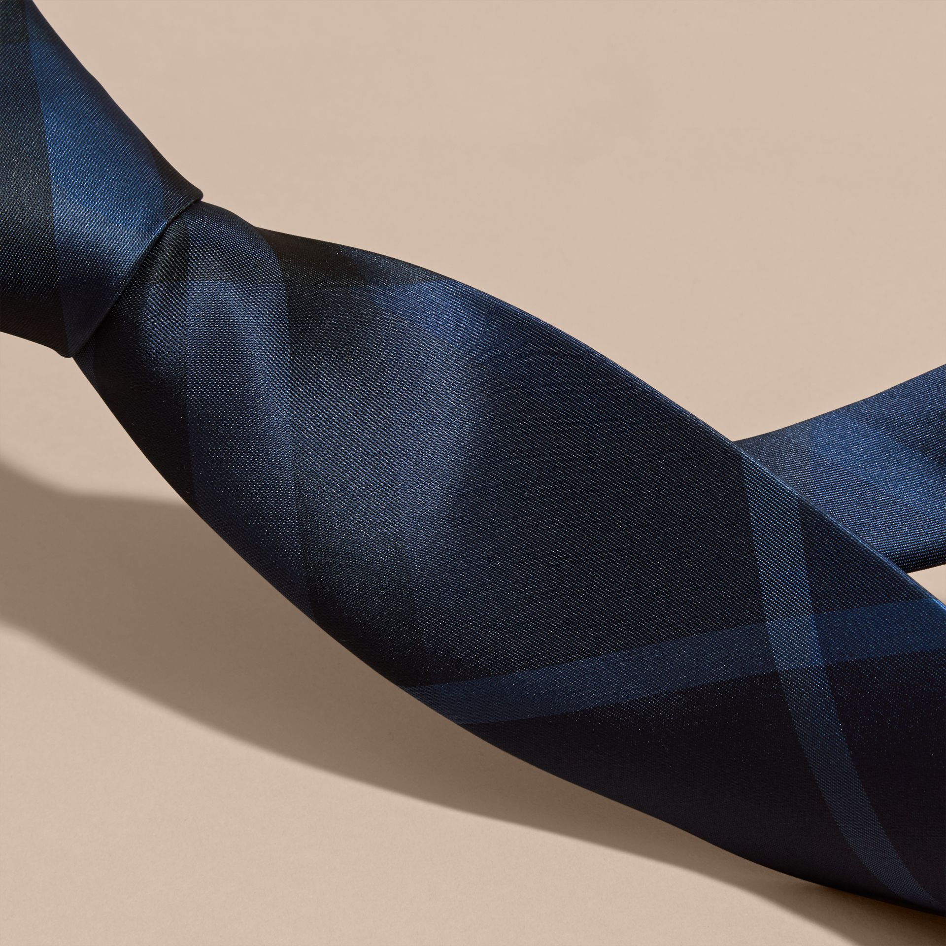 Classic Cut Check Silk Tie in Navy - Men | Burberry - gallery image 2