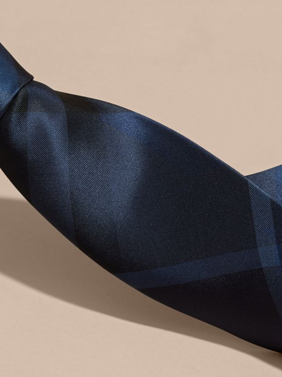 Classic Cut Check Silk Tie in Navy - Men | Burberry United States - cell image 1